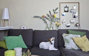 Un soggiorno con un divano grigio e cuscini verdi - IKEA