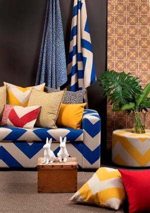 Bold Bright And Beautiful It S The Striking New Tesserae Fabric Range From Sarah Ord Interiors Available Through Beach House Interiors Homeware