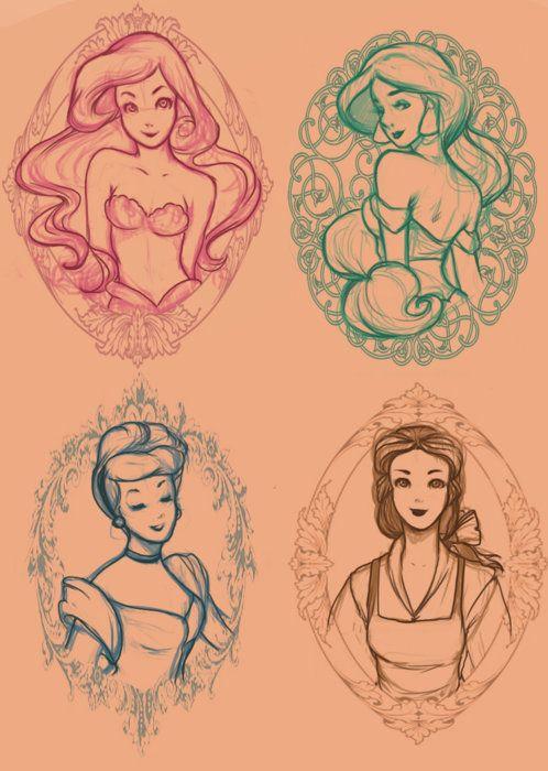 Ariel, Jasmine, Cinderella, Belle  #Disney