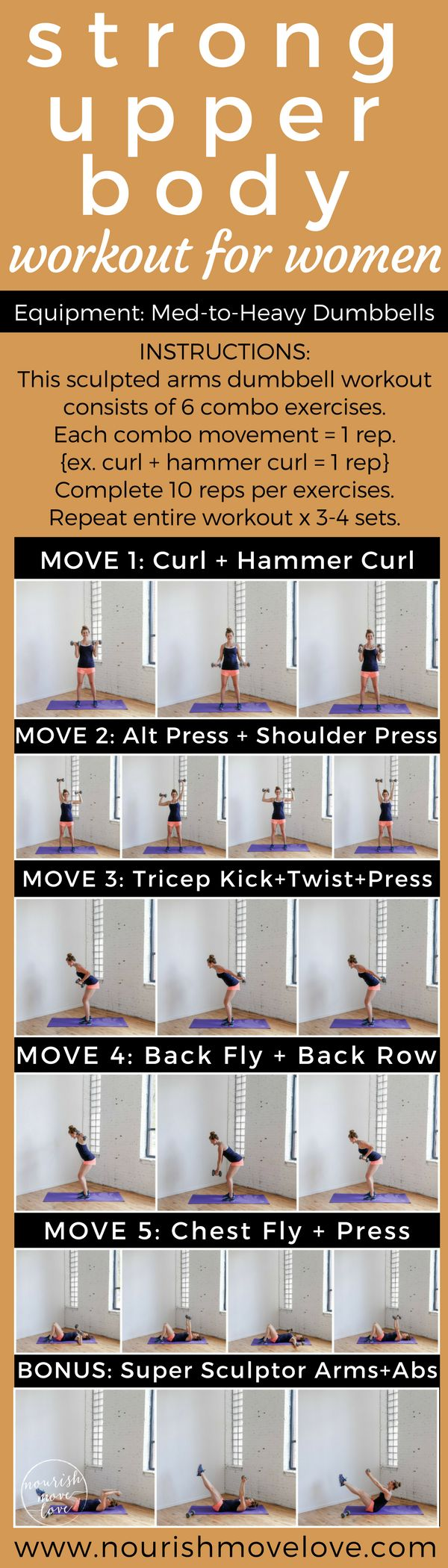 Sculpted arms dumbbell workout - 20 minute, six exercises to build lean muscle and upper body strength. STRICTLY STRENGTH upper body workout. Biceps, triceps, shoulders, back, chest, BONUS core / ab workout.  | Posted By: CustomWeightLossProgram.com