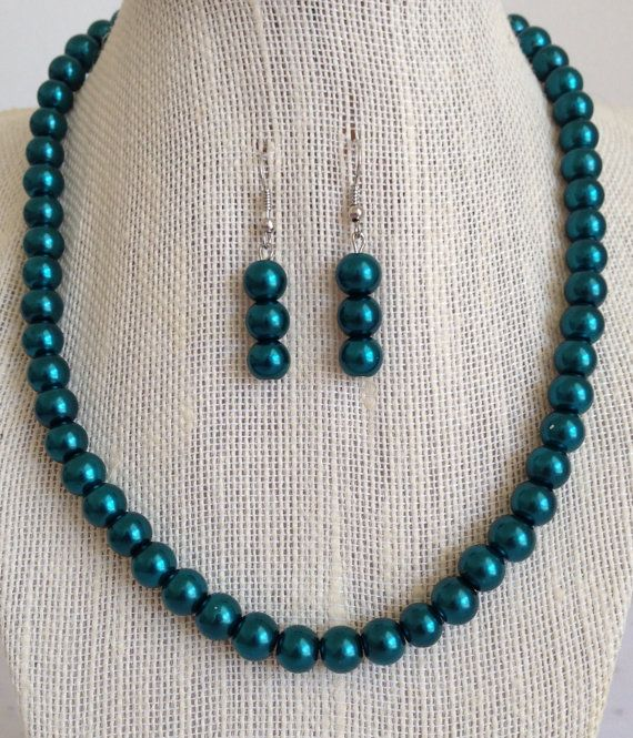 Teal Necklace Teal Wedding Jewelry Teal by CherishedJewelryCo, $22.00