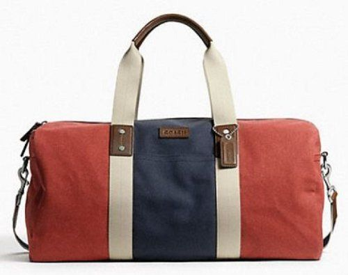 Coach Heritage Web Canvas Pieced Striped Roll Colorblock Duffle Bag Weekender Luggage Red White Blue F93234 Coach Canvas Travel Bag.  #Coach #Shoes