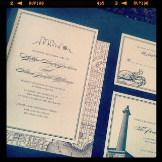 Baltimore Wedding Invitation  Charm City Collection  www.justinkonpaper.com