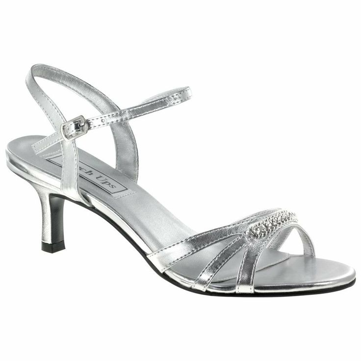 Silver Metallic Rhinestone Low Heel Dress Bridal Wedding Shoes ...