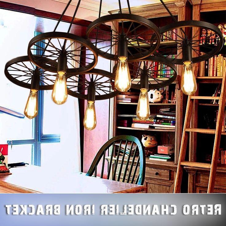 34.19$  Buy here - https://alitems.com/g/1e8d114494b01f4c715516525dc3e8/?i=5&ulp=https%3A%2F%2Fwww.aliexpress.com%2Fitem%2FLamp-holder%2F1000001526586.html - LOFT Metal Wheel  Pendant Lights American Country Lamps Vintage Lighting for Restaurant/Bedroom Home Decoration Black 34.19$
