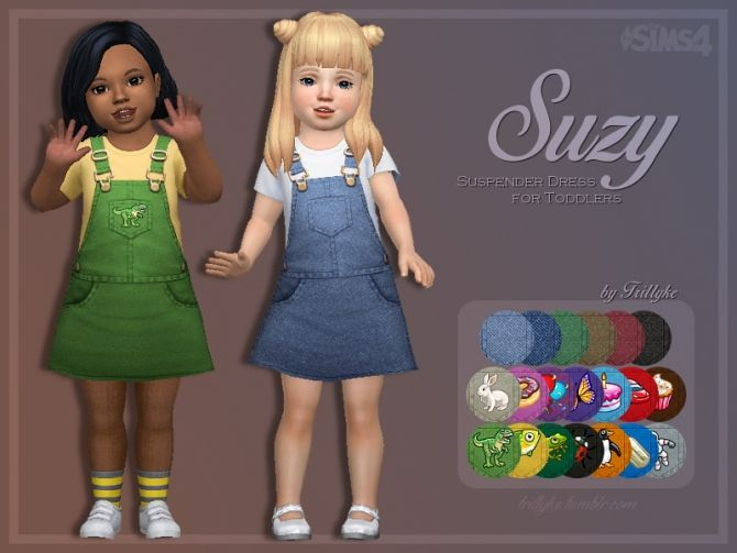 Suzy Suspender Dress for Toddlers at Trillyke • Sims 4 Updates