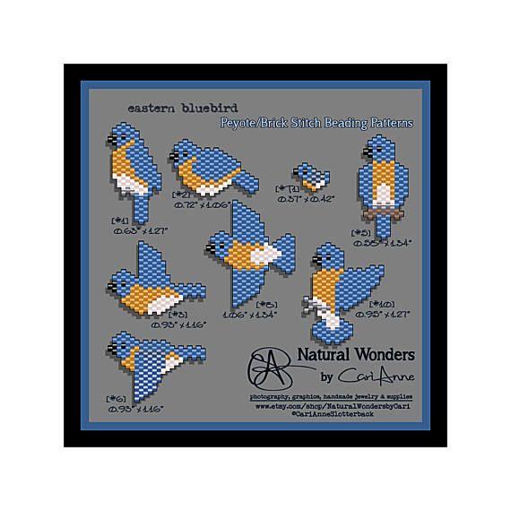 Parfait pour les amoureux de la bird, voici une collection de 8 morceau de mon freeform peyote/brique au point de modèles de perles de la Eastern Bluebird. Le fini le travail pour toutes les pièces varient (voir photo #2) et peuvent être utilisés comme breloque, pendentif, boucle d'oreille, ou cousu sur votre accessoire préféré. ♥ modèles individuels (voir photo #3) sont disponibles sur demande personnalisée (1,50 $ chaque) ♥ Pour plus de modèles chanteur : https://www.etsy....