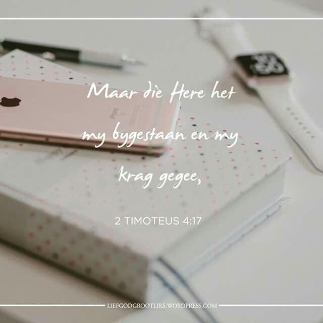 Week 6 – 1 & 2 Timoteus - Ons word geroep om die volgende generasie aan te moedig Vrydag LEES: 4:9-22 SOAP: 4:17-18  Watter verhaal het God aan jou toevertrou om te deel met 'n wêreld wat seer het en moet weet dat God hulle sien en hulle liefhet? Deel jou getuienis met vrymoedigheid, vir Sy glorie.  Liewe Jesus,  Help my om U goedheid, U voorsiening en U beskerming te verkondig. Deur die getuienisse van my lewe, help ander om U te sien en hul geloof in U te plaas. Amen.