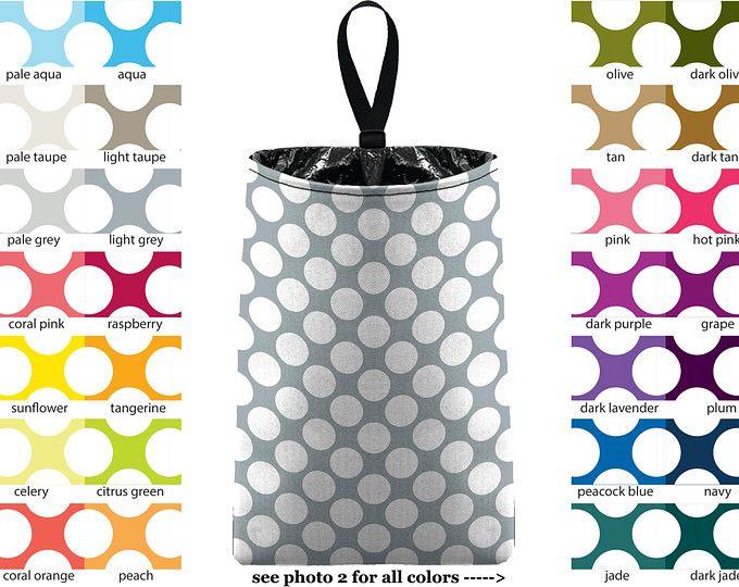 Auto Trash - Jumbo Polka Dots - PICK YOUR COLOR - Car Trash Bag Car Accessory Automobile Caddy Trash Bin Garbage Floral Custom