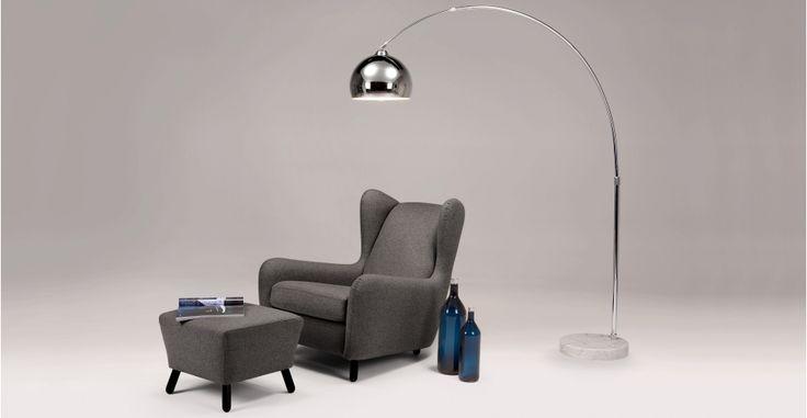 Rubens Wingback Armchair, nickel grey | made.com