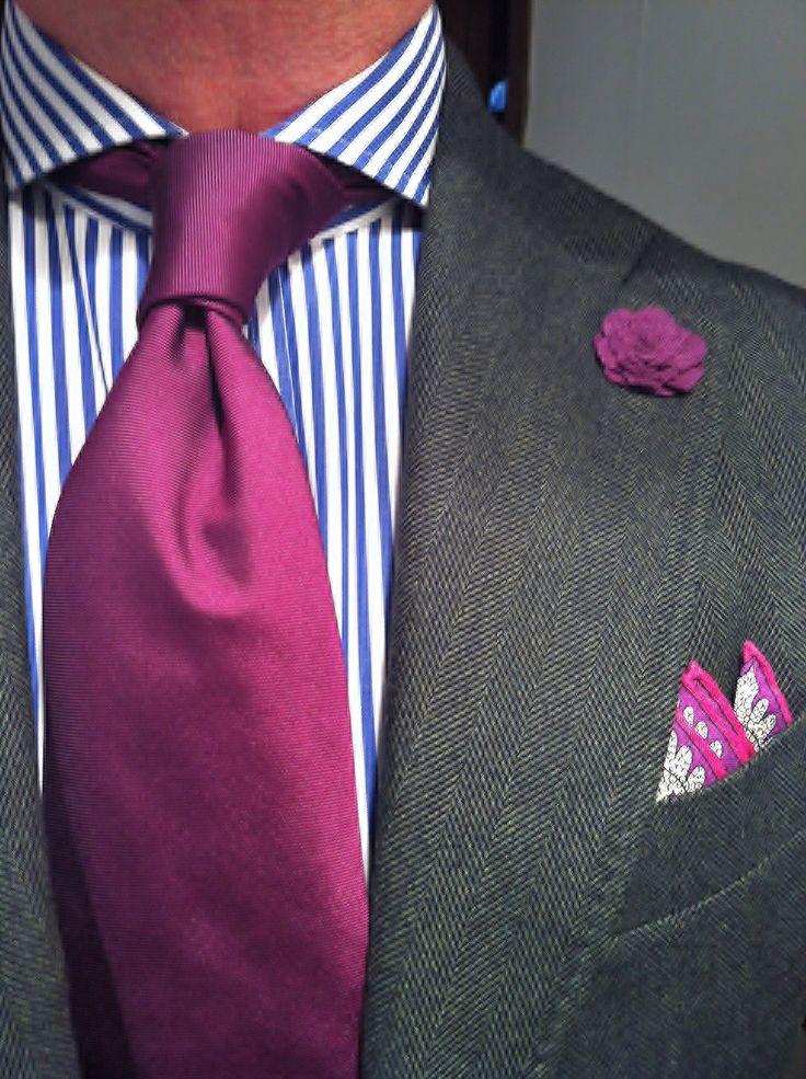 WIWT earlier this week MTM green herringbone jacket fitted by La Couleur Blanche for Oger, striped shirt Purple Label, vintage pocket square, purple tie & boutonnière byhook+ ALBERT