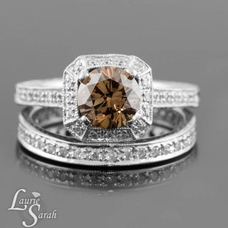 Chocolate Diamond Engagement Ring with Eternity Diamond Wedding Band - LS3835 Chocolate Diamond Jewel, Diamond Rings, Chocolate Diamonds