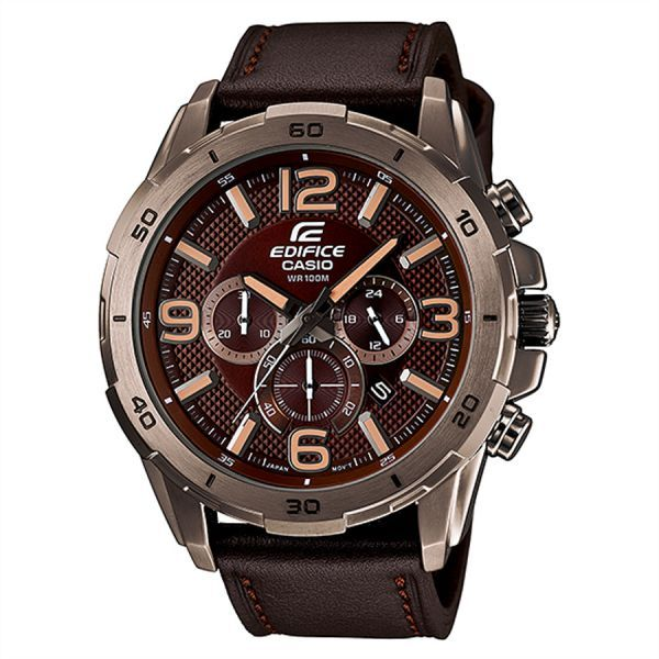 Casio Edifice For Men Brown Dial Leather Band Chronograph Watch - EFR-538L-5A, price, review and buy in Dubai, Abu Dhabi and rest of United Arab Emirates | Souq.com