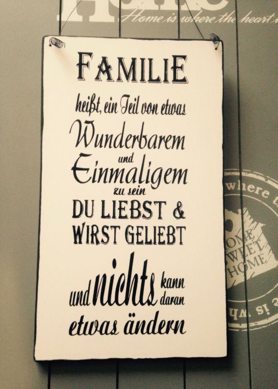 """Familie..""Wandschild Deko Shabby Vintage"