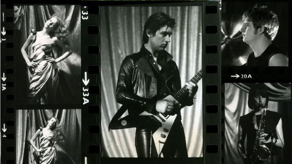 "Film stills from Bryan Ferry's ""Let's Stick Together"" video featuring Jerry Hall. Chris Spedding, Paul Thompson and Chris Mercer also pictured."