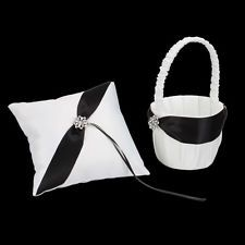 White Satin black suits Wedding Ceremony Party Flower Girl Basket & Ring Pillow