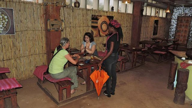 Having a traditional meal at the Xwama Restaurant in Katutura Township, Windhoek, Namibia.