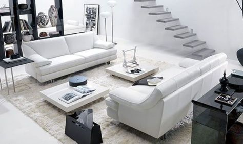 Living Room Design: White Living Rooms, Modern Living Rooms, Living Rooms Design, Black And White, Livingroom, Interiors Design, Black White, Living Rooms Furniture, Living Rooms Ideas
