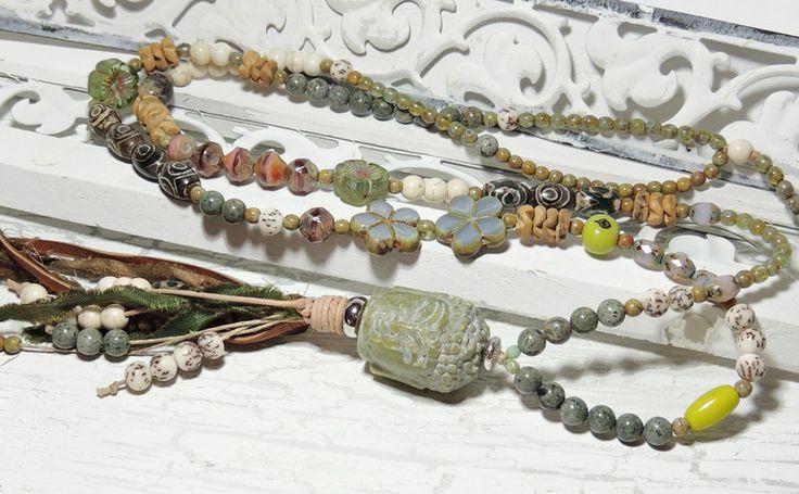 Charm- & Bettelketten - Edle Kette - JADE BUDDHA - ACHAT - SAMEN - GLAS - - ein Designerstück von Kunterbuntes-Perlenspiel bei DaWanda