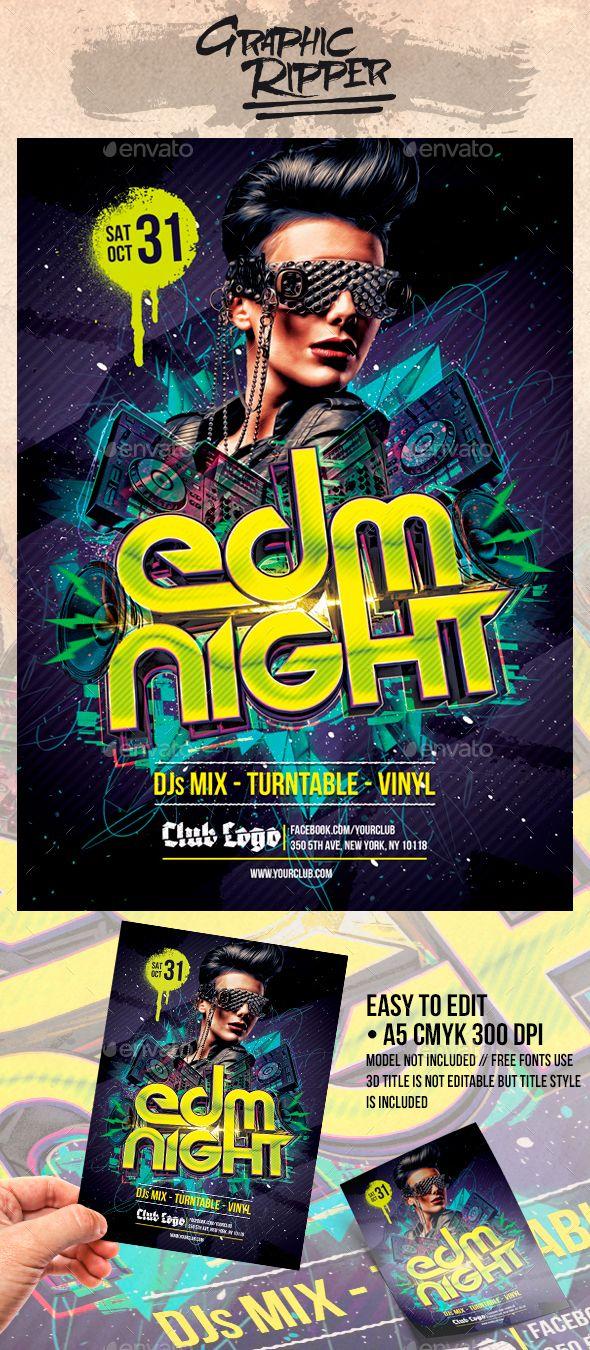 EDM Night Flyers Template PSD