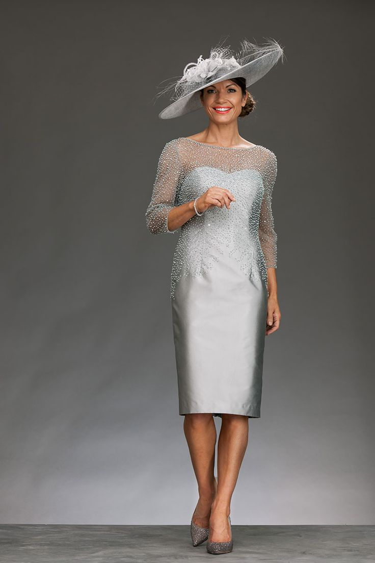 Short fitted dress with pearl beaded bodice ir1190 for Short fitted wedding dresses