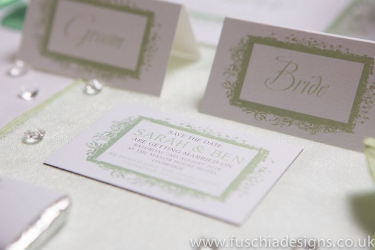 Wedding stationery, save the date magnet in peppermint green design. www.fuschiadesigns.co.uk