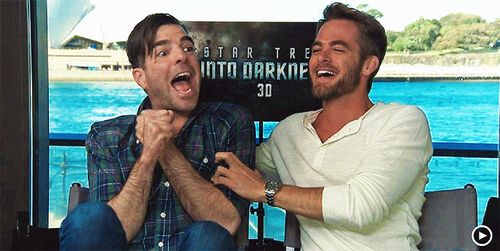 Zachary Quinto And Chris Pine's Bromance Is The Best Bromance-----> these men are adorable