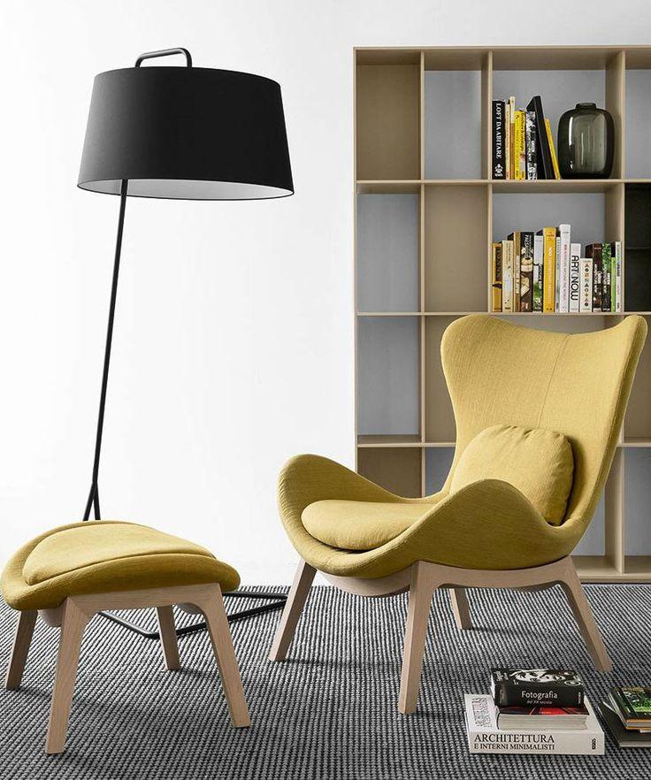 Fabric wingchair LAZY by Calligaris | #design Michele Menescardi @calligaris1923