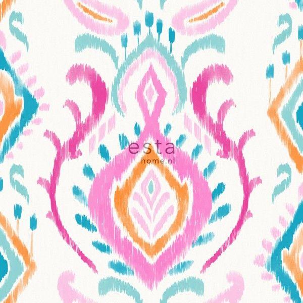 148645 krijtverf eco texture vliesbehang barok roze, oranje en blauw
