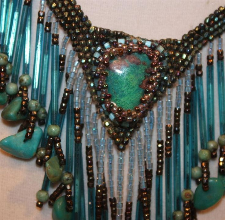 Outstanding Fringed Beaded Turquoise Bib Artisan Necklace- Gorgeous