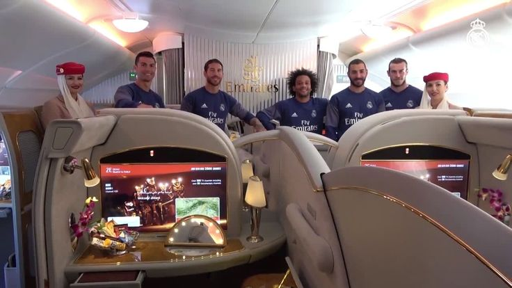 AbanCommercials: Emirates Airline TV Commercial  • Emirates Airline advertsiment  • Real Madrid Players tour the Real Madrid Emirates A380 • Emirates Airline Real Madrid Players tour the Real Madrid Emirates A380 TV commercial • Watch Real Madrid C.F. players tour the Real Madrid Emirates Airbus A380. The iconic Emirates superjumbo's eye-catching customized decal features some of the club's world-class players: Cristiano Ronaldo, Gareth Bale, Sergio Ramos, Karim Benzema and Marcelo…