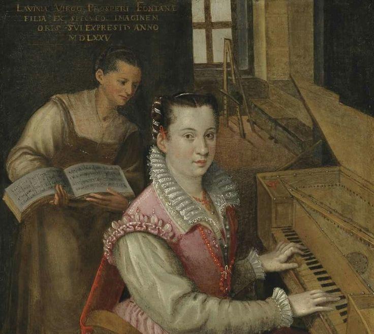 Lavinia Fontana 1577. Autoritratto della  pittrice al clavicordo. Roma Accademia di San Luca.
