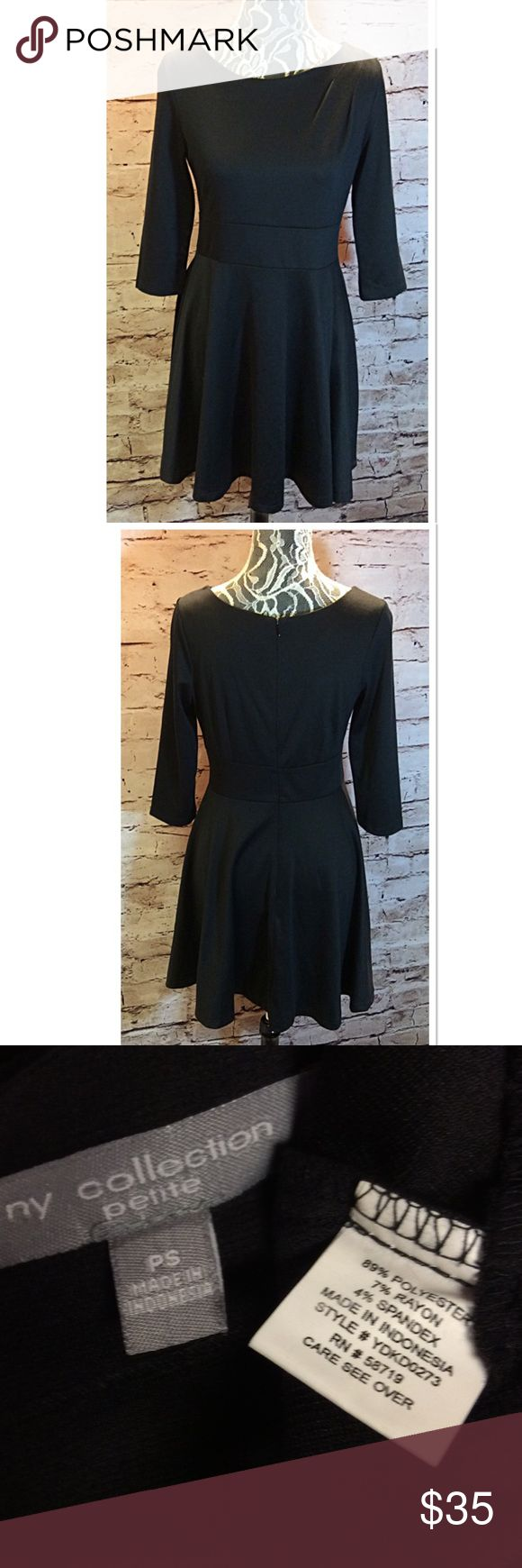 NY COLLECTION PETITE BLACK DRESS Beautiful little black dress with 3/4 sleeves in gently used condition NY Collection Dresses