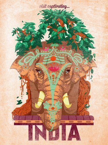 Vintage Indian elephant poster // India