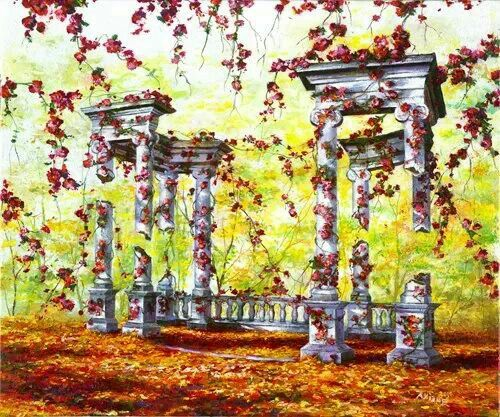 """Rebirth -  by Akiane Kramarik, Age 15 """"""""Rebirth"""" is a story of transformation from life to death, and from death back to life. The vines full of blossoms have surrounded slowly eroding pillars and fully participate in extending their last moments of life."""" - Akiane"""