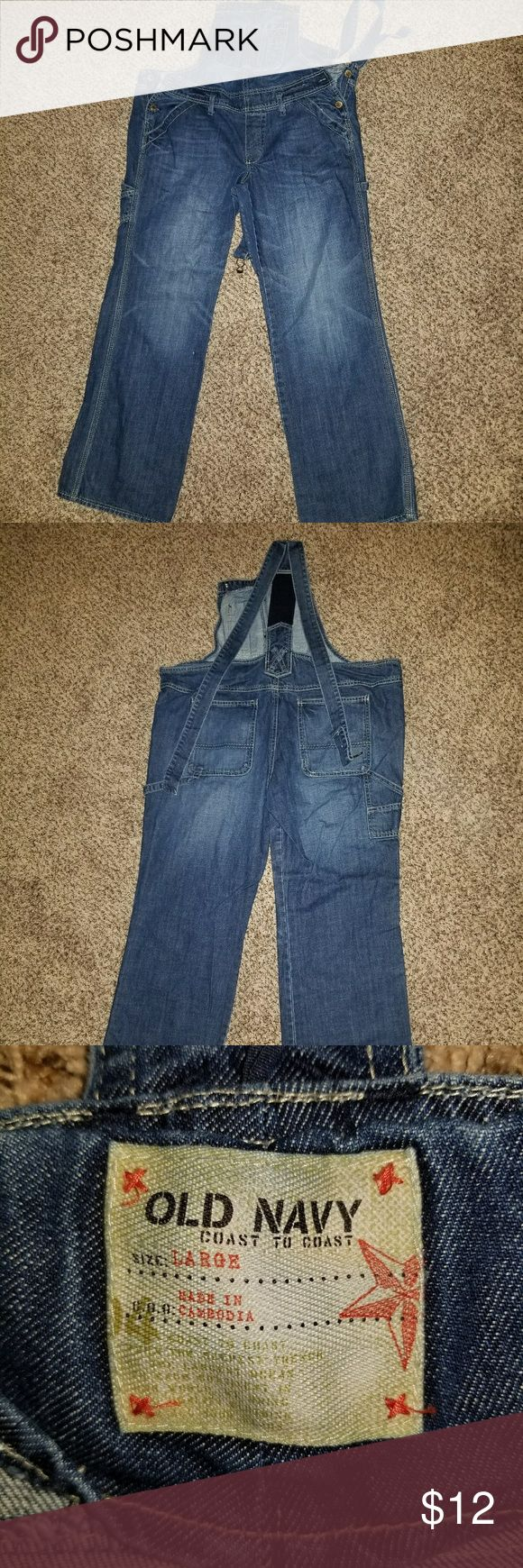 Old Navy Denim Overalls Old Navy Denim Overalls, low ride, worn a handful of times. Can be dressed up or dressed down because of the fit. Note: metal closures are missing. Old Navy Jeans Overalls