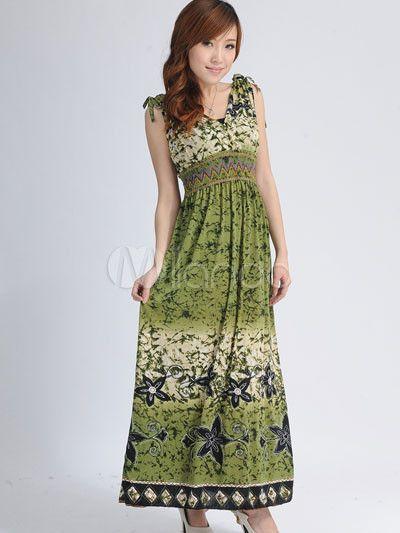 Vestito lungo color verde oliva di bohemian stampato con scollo a V smanicato per la luna di miele - Milanoo.com