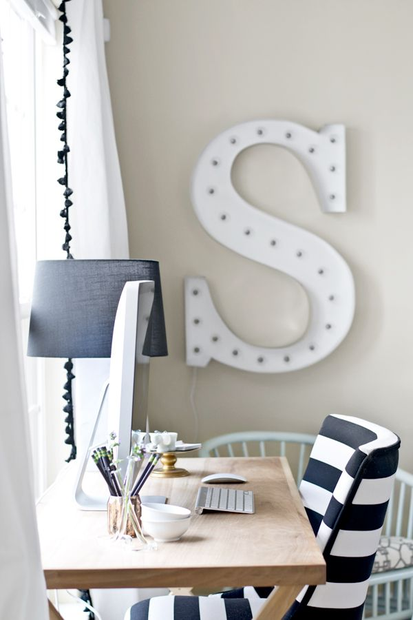 DIY Marquee Letter & Renter-Friendly Curtains {Sarah M. Dorsey} - East Coast Creative Blog @Sarah Chintomby Chintomby M. Dorsey Designs #cwts2014 #homedecor #linkup
