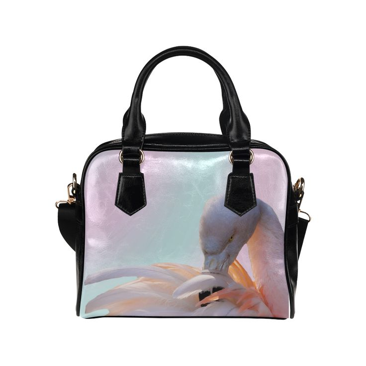Flamingo Pink Mint Shoulder Handbag. FREE Shipping. #artsadd #bags #flamingos