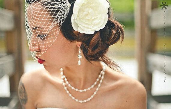 Bridal birdcage veil, created from french netting, is attached to two bobby pins, each side is adorned with few rocaille beads. You can adjust the