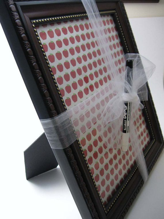Cute Christmas gift idea for a teacher!   -  Dry Erase pen writes on the glass of the photo frame..... back with a pic from child which still allows the writing on the glass to be easily read.