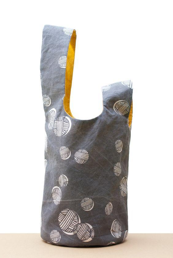 Japanese Knot Bag for the Secret Valentine Exchange: Grey Side