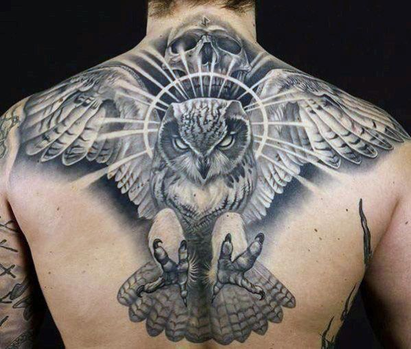 Men's Eagle And Skull Back Tattoos