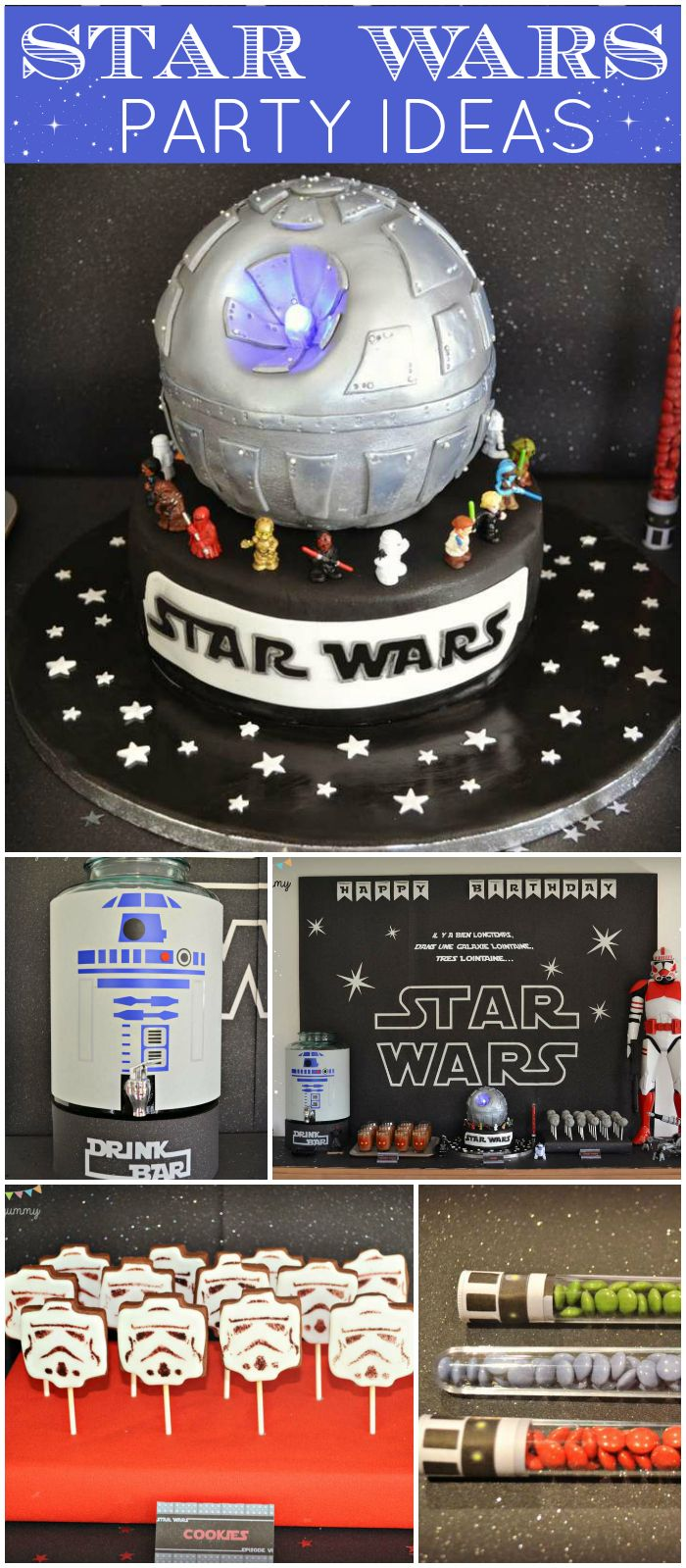 If you're a Star Wars fan, check out this party!  Cool Death Star cake! See more party ideas at CatchMyParty.com!