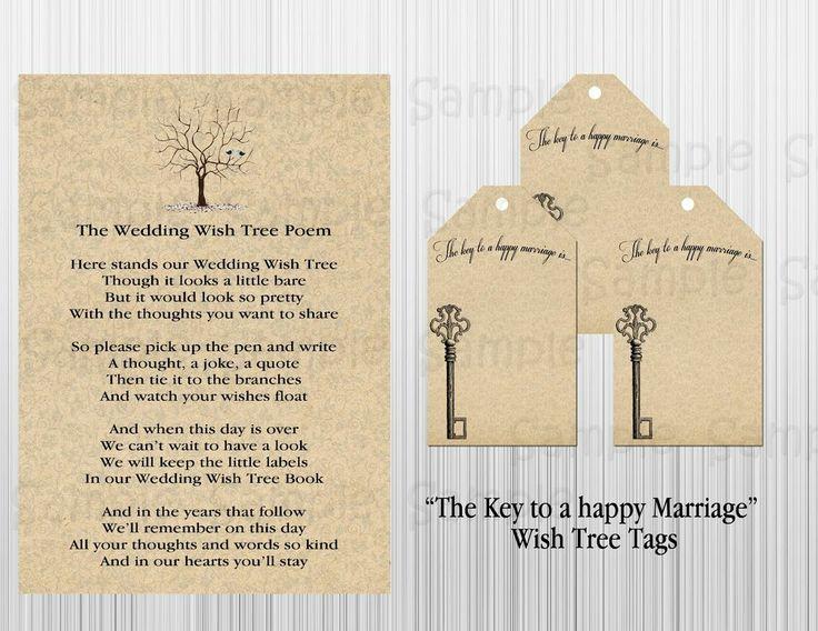 Key To A Happy Marriage Wish Tree Tags Poem Wedding Vintage Satin Ribbon