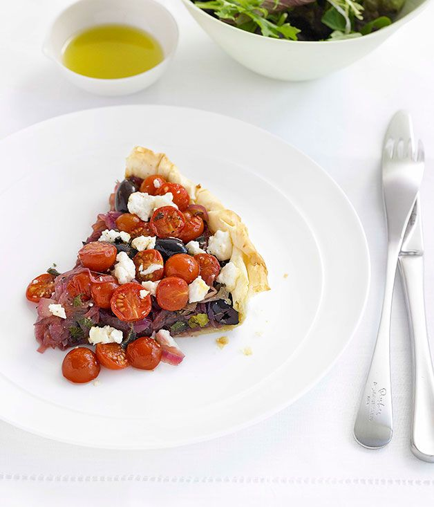 Australian Gourmet Traveller fast recipe for tomato, olive and onion tart