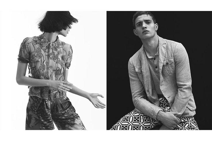 Giorgio Armani adv spring/summer 2017, ritratti di moda in bianco e nero