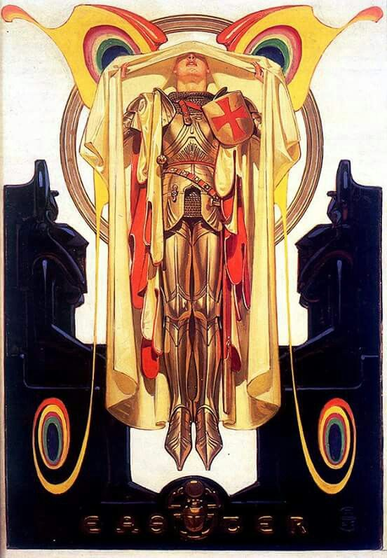 """Anticipating upcoming Holidays...and hoping this isn't already in the J.C.L. folder  Joseph Christian Leyendecker  cover: SEP April 7, 1928  oil on canvas 27"""" x 18.5"""" """"The spiritual rebirth of King Arthur's knight, Parsifal, in his search for the Holy Grail."""""""