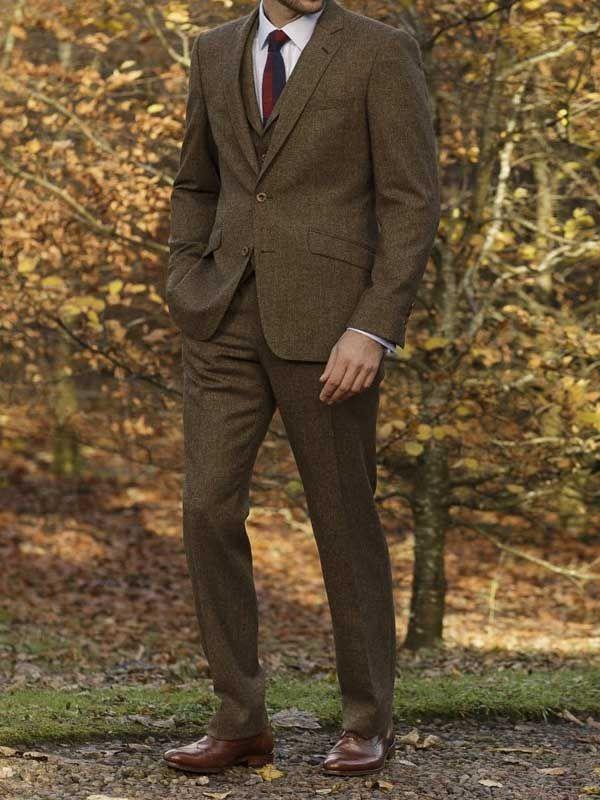 6b9a42147b7ef3 Magee Three Piece Suit - Donegal Tweed - Brown   Sharp Dressed Men   Tweed  wedding suits, Three piece suit, Brown tweed suit