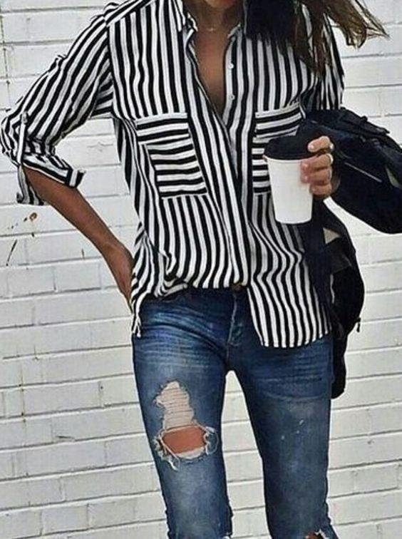 White Navy Vertical Stripe Pockets Blouse